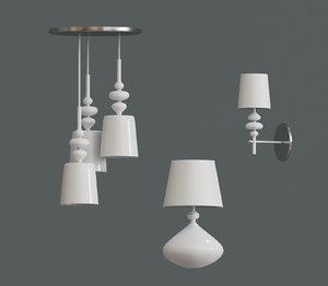 3D set white lamp light model