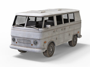 low-poly old generic van 3D