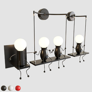 funny wall sconce bedroom 3D