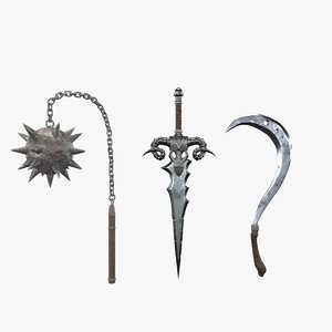 weapon set sword 3D model