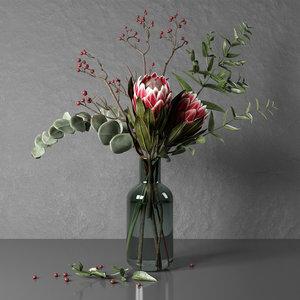 bunch flowers protea eucalypt 3D model