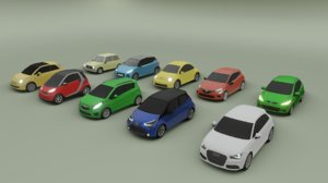 collection of 10 low poly mini cars
