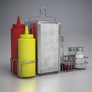 diner set sugar salt shaker 3D model