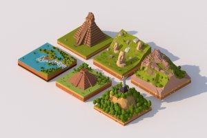 3D model cartoon south america landmarks
