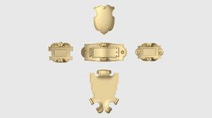 3D set mini cartouche decoration model