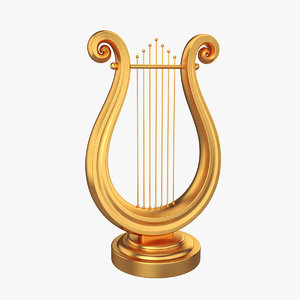 lyre golden gold 3D model