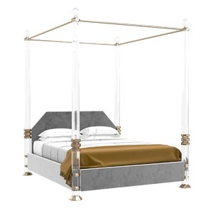 3D bed lucite solid brass model