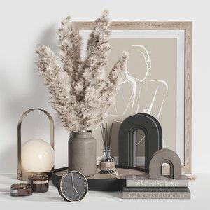 decorative set pampas 3D model