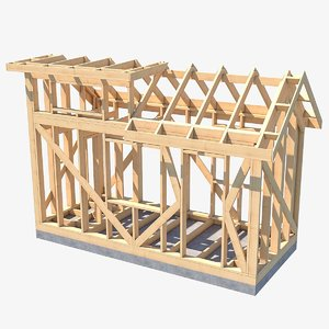 house wooden framework 3D