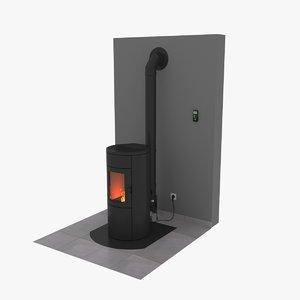 pellet stove 3D model