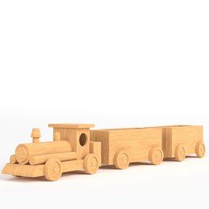 wooden train toy 3d 3ds