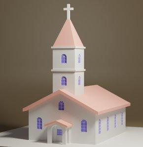 cartoon church 3D model