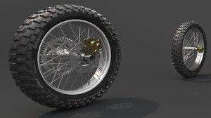 3D motorbike tire wheel
