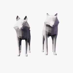 3D animals fox wolf