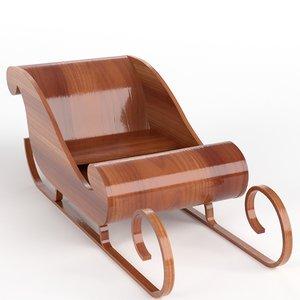 3d model wooden sledding