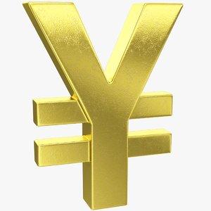 yen yuan symbol 3D