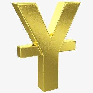 3D yen yuan symbol model