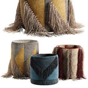 3D model set decorative basket