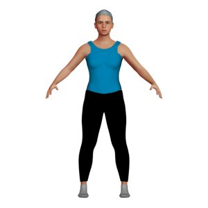 adult woman yoga character 3D model