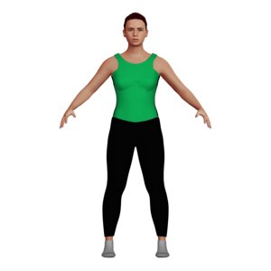 woman yoga clothes rigged character 3D model