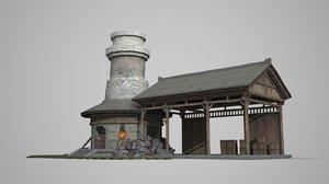 3D ancient building blacksmith
