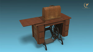 low-poly old sewing machine 3D model