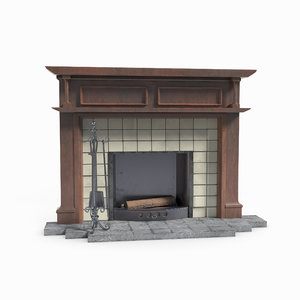 3D fireplace architecture model