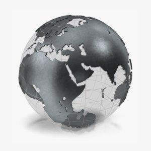 3D globe black metal