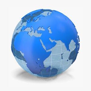 3D globe blue white