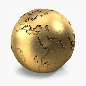 3D gold globe model