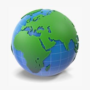 globe green blue 3D model