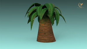low-poly palm 3D model