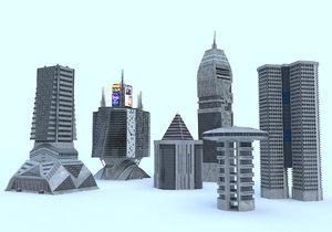 3D model modern buildings