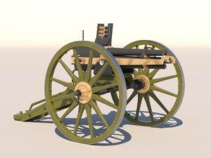 3D hotchkiss 37mm revolving cannon model