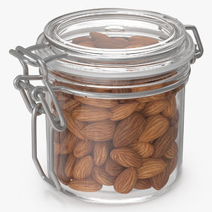 3D almond nuts glass jar