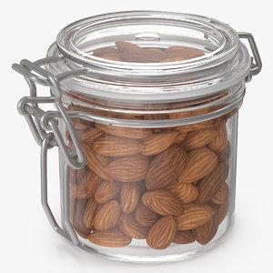 3D almond nuts glass jar