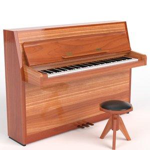 open vertical piano 3D model