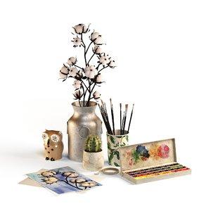 3D watercolor set decorating