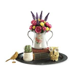 set bouquet flowers 3D model