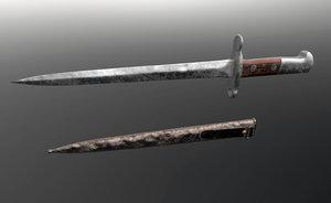 3D swiss bayonet knife 1918 model