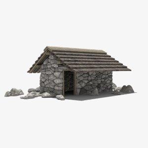 house primitive stone 3D model