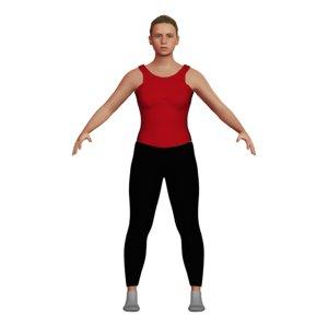 3D blonde woman yoga clothes model