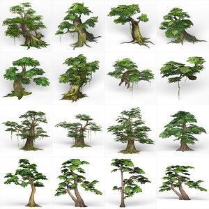 ready fantasy trees games 3D model