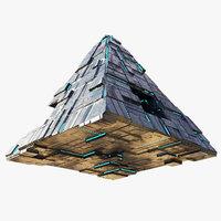 lowpoly Spaceship Pyramid sci fi