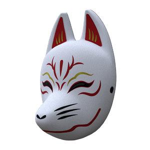 3D japanese fox mask model