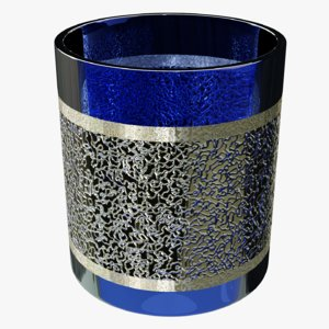 3D model blue gold plated glass