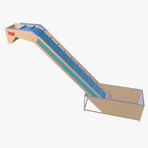belt feeding elevator animation 3D model