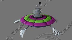 3D cartoon ufo v2 modeled