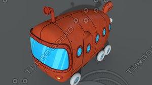3D cartoon bus toon