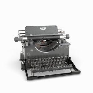 3D model typewriter type writer
